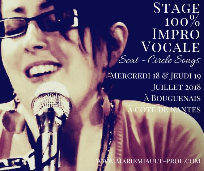 Stage 100% improvisation vocale, scat, circle songs à Bouguenais les 18 et 19 juillet 2018
