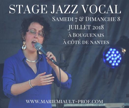 Stage jazz vocal juillet 2018 à côté de Nantes