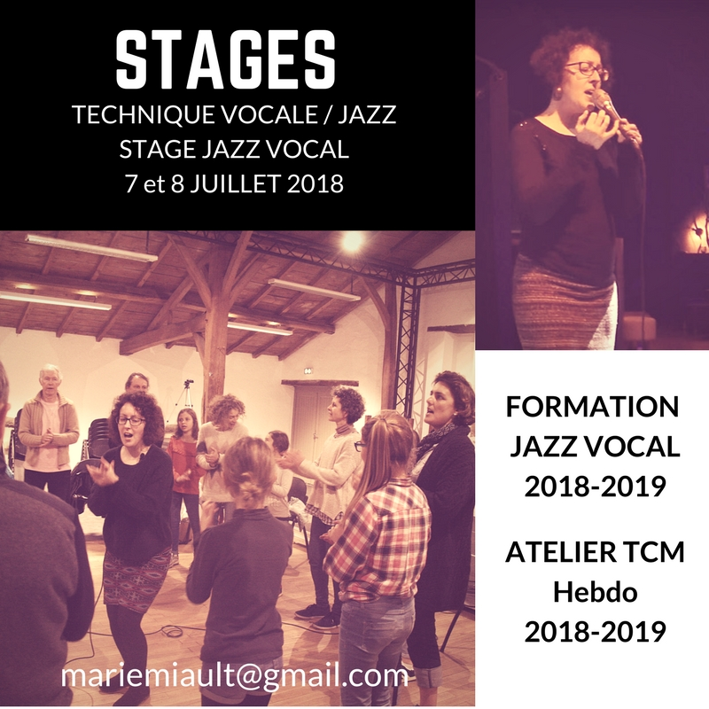 Stages, formation jazz vocal et autres informations sur le chant avec Marie Miault à Nantes et Bouguenais