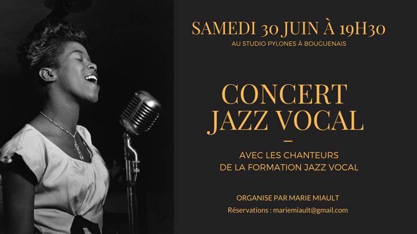 Concert Jazz Vocal, le 30 Juin, avec les Chanteurs de la Formation Jazz Vocal
