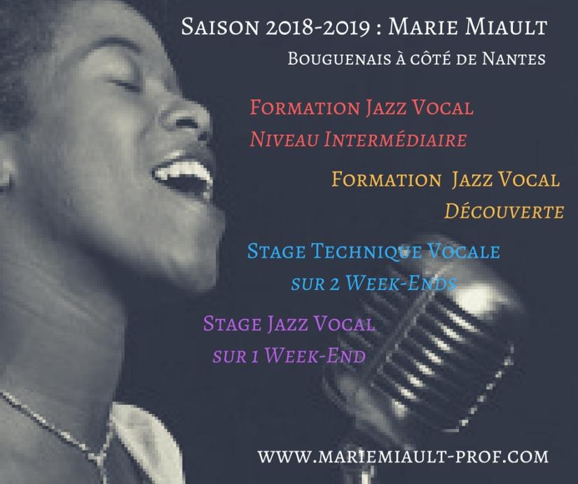 Saison 2018-2019, Marie Miault, formation jazz vocal intermédiaire et découverte, stage technique vocale à Bouguenais à côté de Nantes