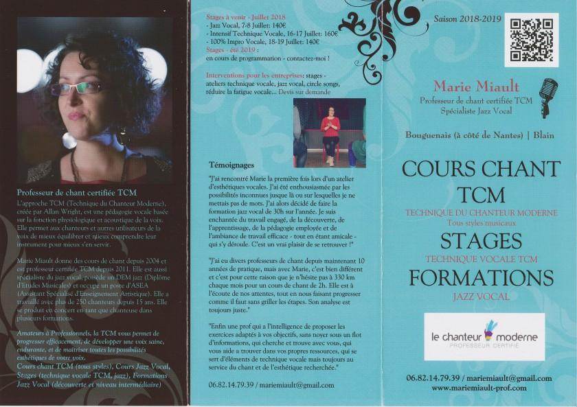 Plaquette saison 2018-2019, cours de chant, stages, TCM et jazz, avec Marie Miault (recto)