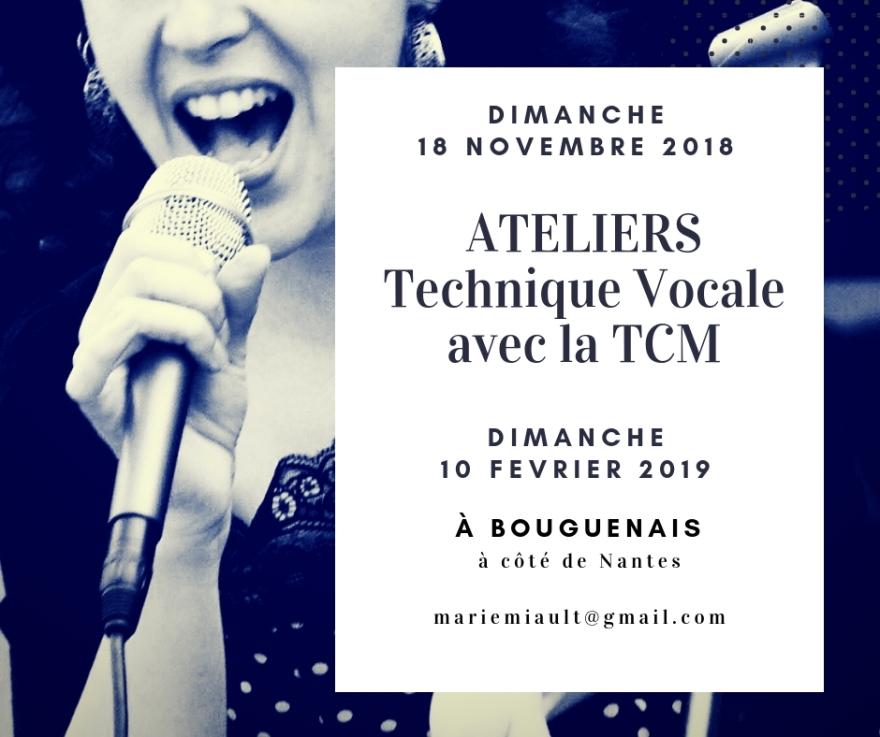 Ateliers de technique vocale avec la TCM à Bouguenais à côté de Nantes