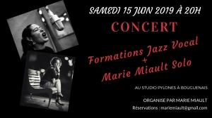 Concert formations jazz vocal + Marie Miault solo le samedi 15 juin 2019 à Bouguenais
