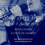 Stage Jazz Vocal les vendredi 5, samedi 6 et dimanche 7 juillet 2019, Nantes, sud loire, avec la TCM