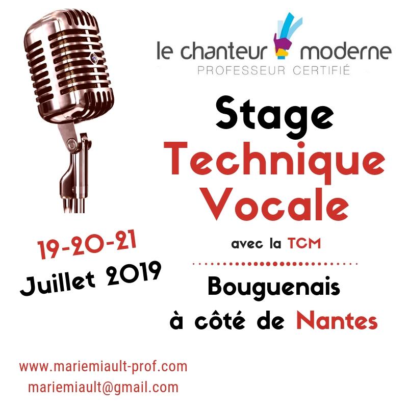 Stage de Technique Vocale avec la TCM les vendredi 19, samedi 20 et dimanche 21 juillet 2019 à Nantes, Sud Loire