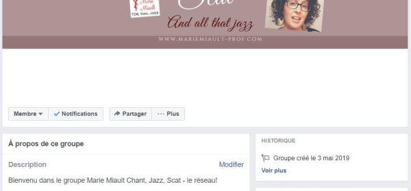 Groupe Facebook Marie Miault Chant, Jazz, Scat - le réseau