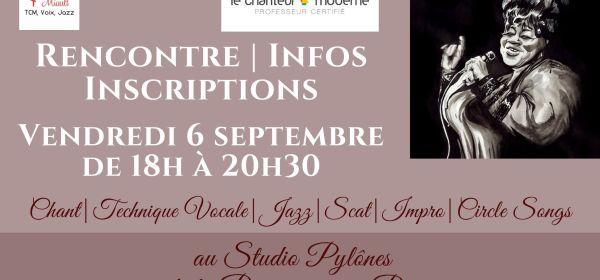 Rencontre, inscription le vendredi 6 septembre pour les cours de chant et de jazz vocal avec Marie Miault à Bouguenais à côté de Nantes